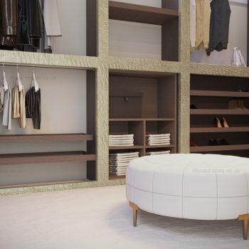 Fitted modern open plan wardrobe in London