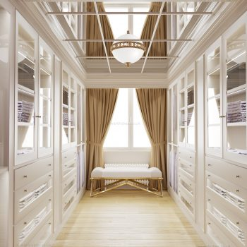 Light traditional painted walk in closet in London