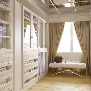 Custom made fitted traditional walk in closet in London