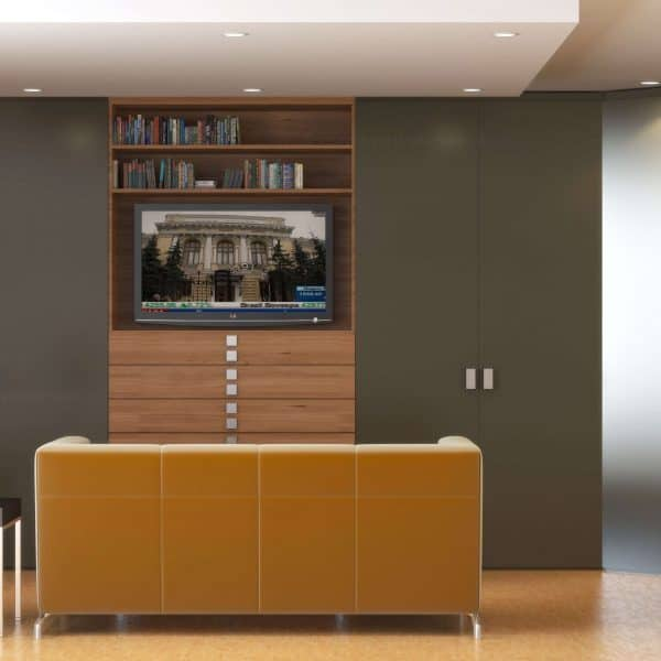 Modern fitted wardrobe with hinged doors and drawers