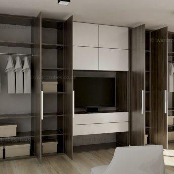 Custom reception storage unit with TV niche