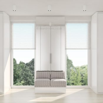 Matt white wardrobe with hinged doors