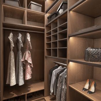 Designer walk in wardrobe in Kensington, West London