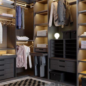 Designer dressing room with hinged glass door wardrobe