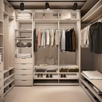 Light fitted dressing room in London